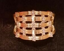 14k yellow gold textured basket weave 1/10 ct tw diamond ring,  size 5