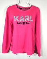 NEW Karl Lagerfeld Paris Women's French Hot Pink Beaded Sweatshirt Top L