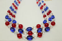 Vintage 3-Strand Red Clear & Blue Lucite Graduated Beaded Necklace K*