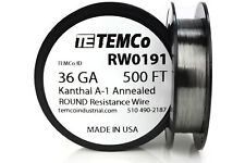 TEMCo Kanthal A1 wire 36 Gauge 500 Ft Resistance AWG A-1 ga