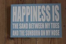 "HOLIDAY /BEACH THEMED PLAQUE ""HAPPINESS IS THE SAND BETWEEN MY TOES ETC........"