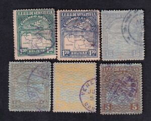 Venezuela lot of 6 air mail stamps, design old plane and map
