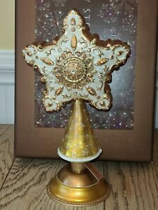 Jay Strongwater Glass Star Tree Topper With Stand NEW WITH BOX/TAG