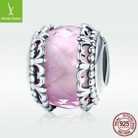 Pink Style 925 Sterling Silver Murano Charm Sweet Iris Flower Bead Fit Bracelet