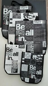 """NEW Lot of 5- Lululemon Reusable Shopping Bags """"Be All In"""" 3- large/2- Small"""
