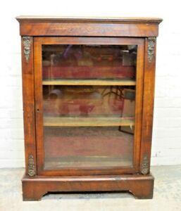 Antique Victorian Inlaid Walnut Pier Cabinet Display Cabinet (Can Deliver)
