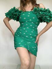 Vintage Italian Heavy Frill Ruffles Silk Polka Dots Flattering Sexy Short Dress