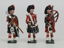 Three Blenheim Black Watch Bandsmen Metal Toy Soldiers with Bagpipe and Drummer