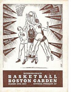 1946-47 Boston Garden Doubleheader Program - Holy Cross Cousy Frosh RARE!!
