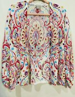 Chico's White Pink Paisley Open Cardigan Sweater Size 2 Large Ruched Sleeves