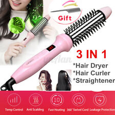 3In1 45W Electric Hair Dryer Styler Straightener Curler Brush Ionic Comb Ceramic