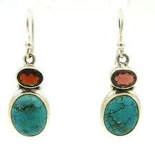 RUBY QUARTZ TURQUOISE EARRINGS 925 solid STERLING SILVER
