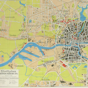 "Konigsberg city map 1930s 16x23"" Ostpreussen East Prussia Kaliningrad pre-WW2"