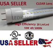 """Ul G13 4Ft 18 Watt 5000K Clear Dlc 48"""" T8 Replacement Led Tube Lights 2835 Smd."""