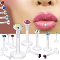 20pcs 16G 2mm Rainstone Clear Flexible Acrylic Bar Labret Monroe Studs Lip Rings