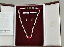 Vintage 9ct Gold Cultured Pearl Necklace And Earrings