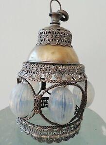 DEALER-RITA  Antique pendant lamp shade light opal glass bronze