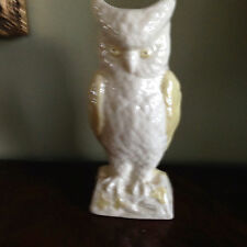 "Irish Belleek Owl Vase 8"" Tall Pre-Owned Good Condition"