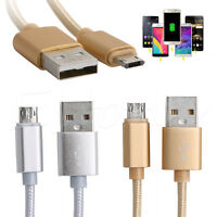 Micro USB Data Sync 2A Braided Charging Cable Double Sided Reverse For Android