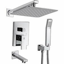 "Shower Faucet Set with Tub Spout and 10"" Rain Shower Head Wall Mounted Chrome"