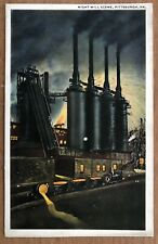 PITTSBURGH PA ~ NIGHT MILL SCENE   STEEL MILL   1920s