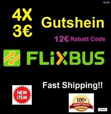 (4x3€) FLIXBUS GUTSCHEIN Voucher- Fast Shipping! - Gutschein NEU > 31.12.2018 !!