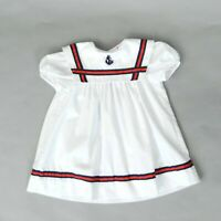 Vintage 70s White Red + Navy Nautical Children's Sailor Anchor Puff Sleeve Dress