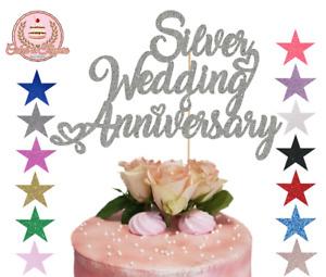 Silver Wedding Anniversary Glitter Cake Topper 25th Wedding Romantic Hearts