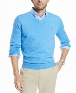 Tommy Hilfiger Mens Sweater Blue Size XL V-Neck Signature Solid Pullover $59 230