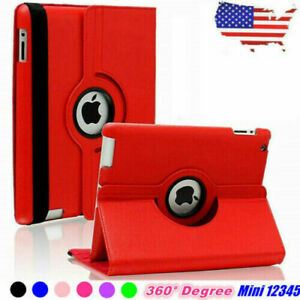 For iPad Mini 1 2 3 4 5 Case Cover Shockproof 360 Rotating PU Leather Stand