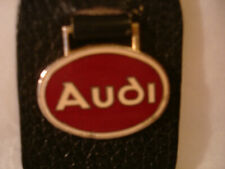 AUDI Leather & Metal Keychain Black Leather and Goldtone Metal Fob
