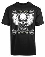 Heathen By Nature New Mens Shirt Funny Face Humor Short Sleeve Summer Casual Tee