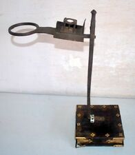 Old Antique Rare India Iron Hand Engraved Opium Filter With Wood Stand Folk Art
