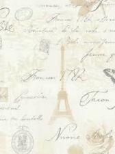 97750 Cream Beige Rose Silver Calligraphy Writing Paris Feature Wallpaper