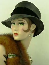 VINTAGE HAT 1930s FRENCH, WAVING BRIM SLOUCH HAT, BLACK FINE MILAN STRAW, HATPIN