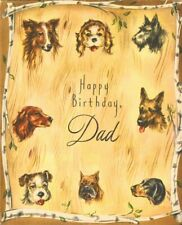 Vintage Happy Birthday Father Dad Greeting Card Dog Dogs Collie Schnauzer Boxer