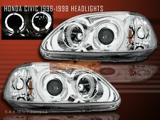 Fit For 96-98 HONDA CIVIC PROJECTOR HEADLIGHTS 2 HALO CHROME