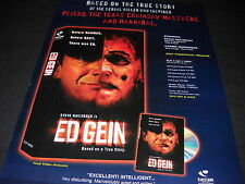 ED GEIN Serial Killer bfore DAHMER before GACY Large PROMO DISPLAY AD mint cond.