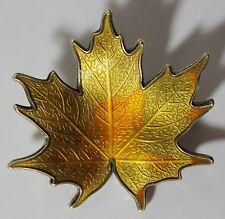 Vintage Signed HROAR PRYDZ Norway Sterling Silver Enamel Autumn Maple Leaf Pin