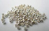 100 Quetschperlen 2 mm rund silberfarben Basteln Schmuck Mobile Perlen Zubehör
