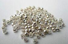 100 Quetschperlen 2 mm rund silberfarben Basteln Schmuck Mobile Perlen Zubehör #