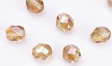 50 Buttercream AB Czech Glass Fire Polished Beads 6MM