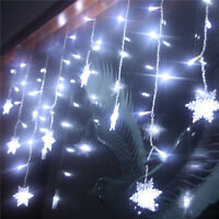 3.5M 96LED Snowflake Icicle Curtain Fairy Lights String Christmas Party Decor