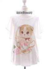 TP-10 Rose Cup Cat Tassen Katze pastel goth Print T-Shirt Lolita Harajuku Japan