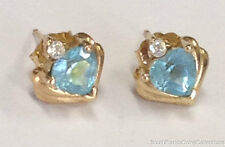 ESTATE JEWELRY LADIES BLUE TOPAZ HEART EARRINGS 10K YELLOW GOLD FOR VALENTINE'S