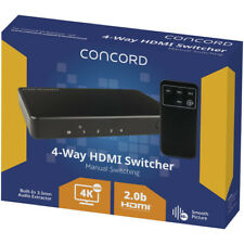 Concord 4-way 4k UHD HDMI Switcher With Remote (3840 X 2160) HDCP Bypass