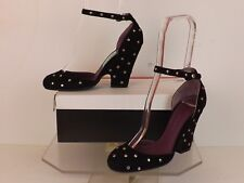 NEW MARC JACOBS BLACK SUEDE SILVER TONE STUDDED ANKLE STRAP WEDGE HEEL PUMP 38.5