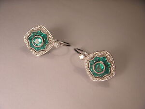 Art Deco Antique 18K White Gold Diamond Emerald Mosaic Earrings