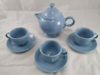 Fiestaware 44oz Retired Periwinkle Teapot Set with 3 Cups Saucers Homer Laughlin