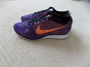 worn 1x MENS 10 NIKE FLYKNIT RACER SHOES ATOMIC PURPLE ORANGE BLACK 526628 585